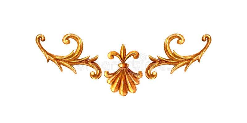 Vinheta barroco do elemento do estilo do ornamento do ouro Vintage tirado mão da aquarela que grava o quadro filigrana do rolo fl ilustração do vetor
