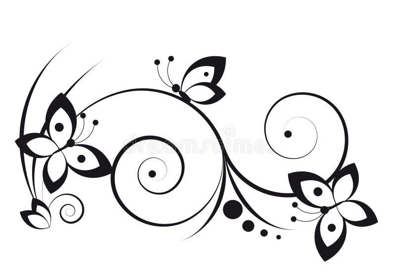 Vinheta com borboletas ilustração royalty free