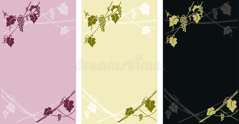 Vinheta da videira - etiquetas do vinho ilustração do vetor
