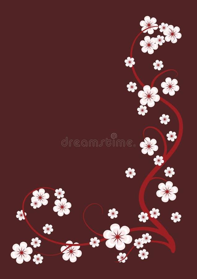 Vinheta das filiais de florescência ilustração stock