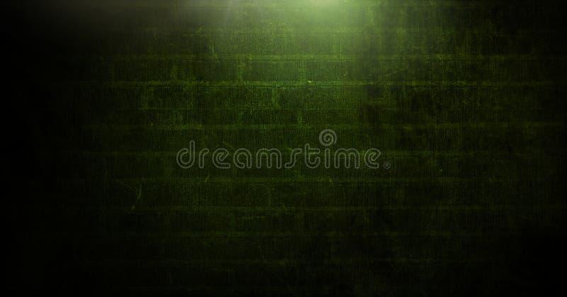 Vinheta e luz no fundo verde da parede de tijolo imagens de stock royalty free