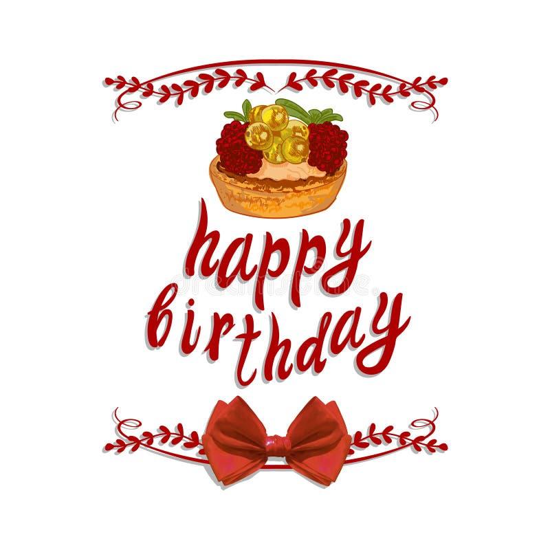 Vinheta escrita à mão do VETOR: ` do feliz aniversario do ` com desenho do bolo ilustração do vetor