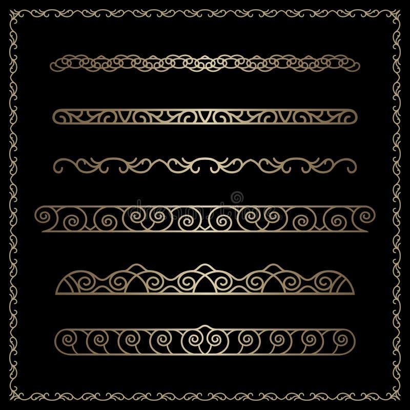 Vinhetas da beira do ouro no preto ilustração do vetor