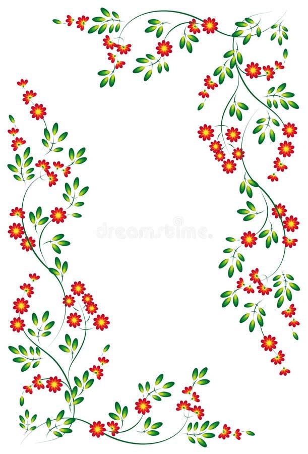 Vinhetas das flores e das folhas ilustração do vetor