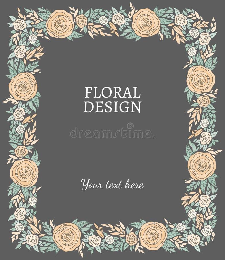 Vinhetas florais, quadro ou beiras do vetor da natureza ilustração do vetor
