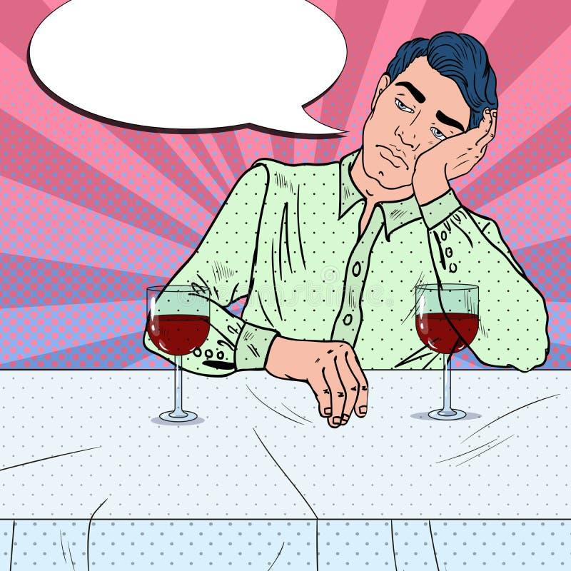Vinho bebendo do homem triste sozinho no restaurante Coração quebrado Ilustração do pop art ilustração stock