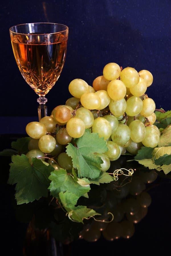 Vinho branco e uvas imagem de stock royalty free