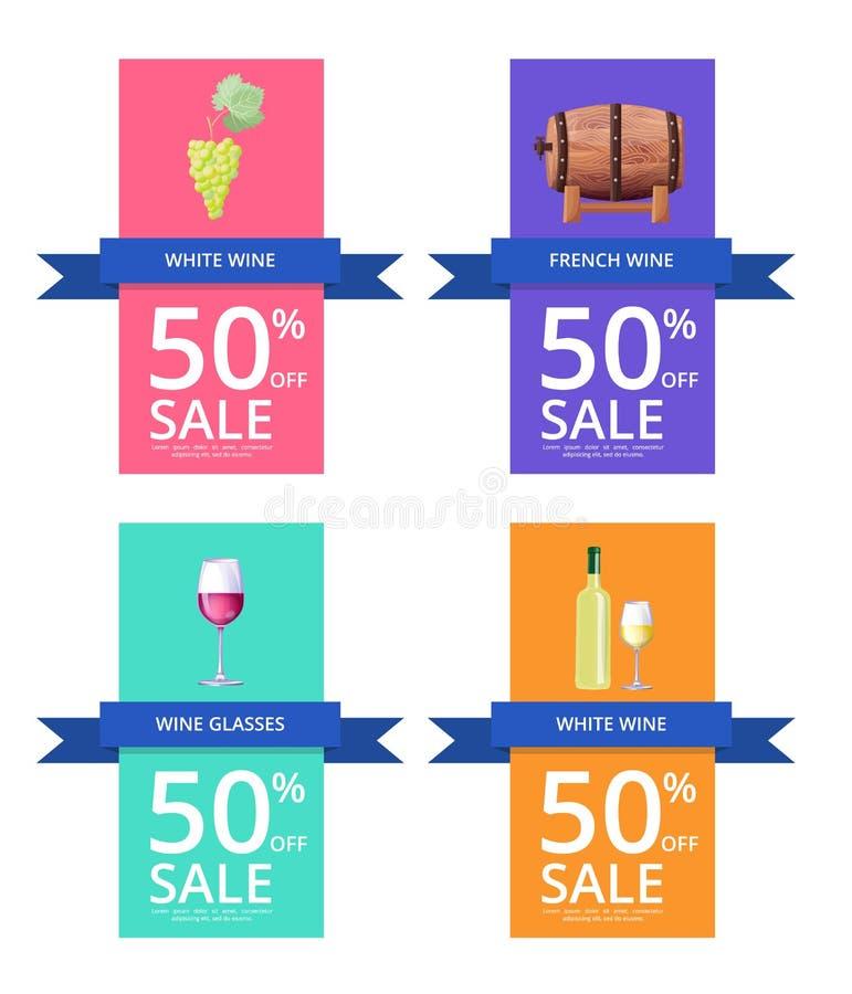 Vinho branco e venda -50 na ilustração do vetor ilustração stock