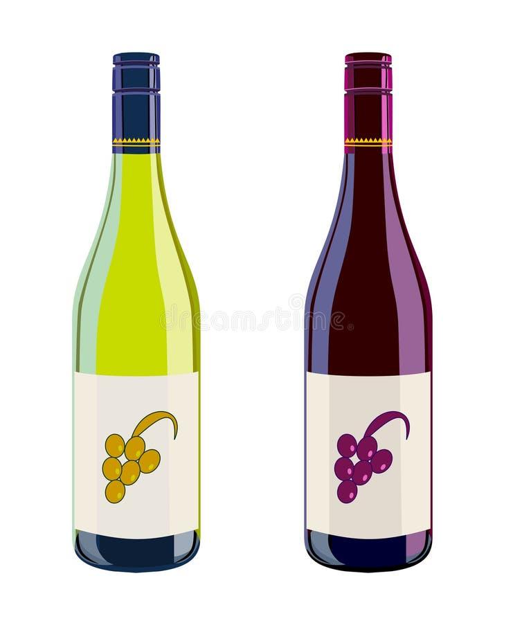 Vinho branco e vermelho ilustração royalty free