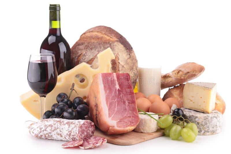 Vinho, carne e queijo imagens de stock royalty free