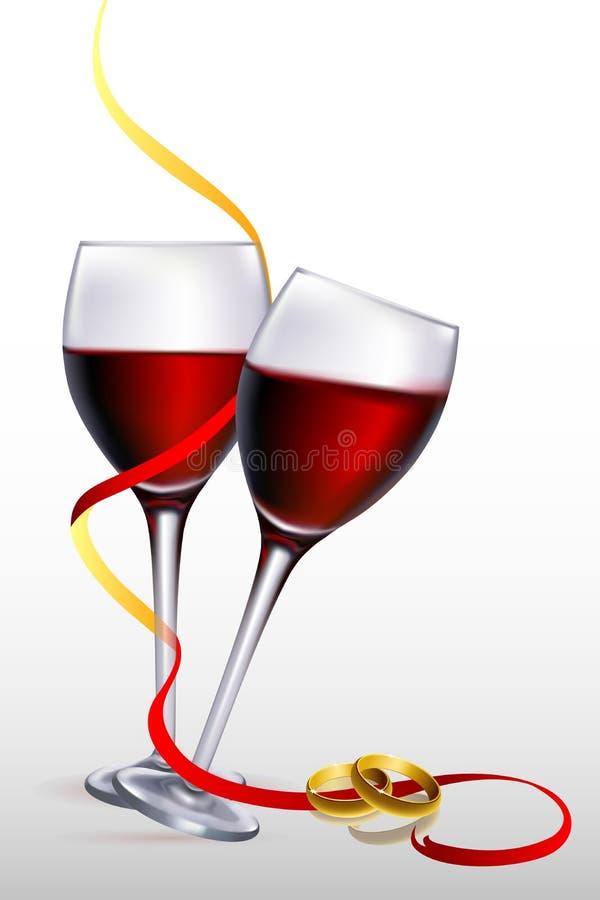 Vinho com aneis de noivado ilustração stock