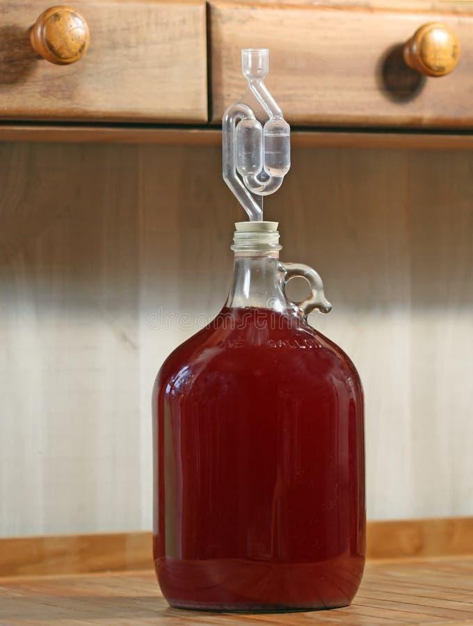 Vinho de fruta do país na fermentação foto de stock