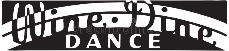Vinho Dine Dance ilustração do vetor