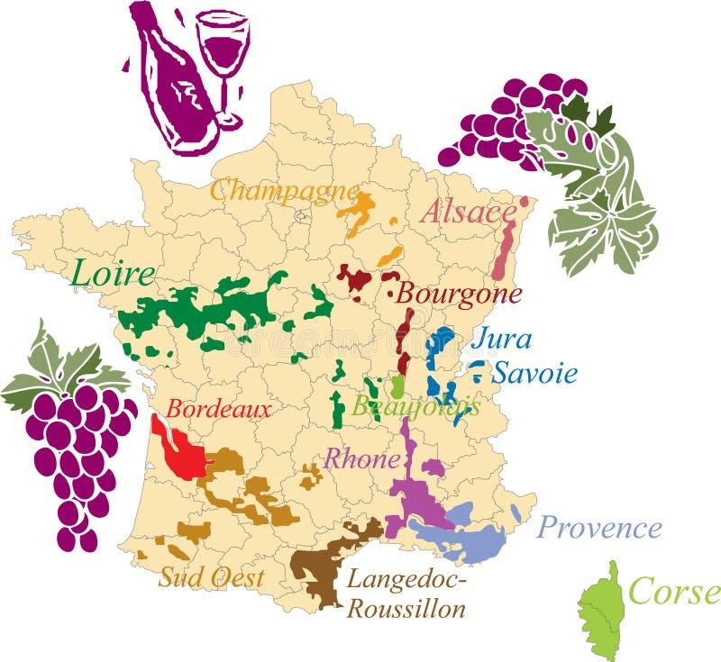 Vinho do francês do mapa. ilustração do vetor