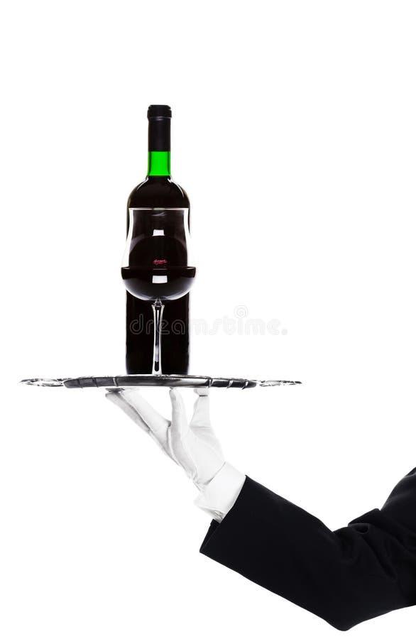 Vinho do frasco da terra arrendada do empregado de mesa fotografia de stock