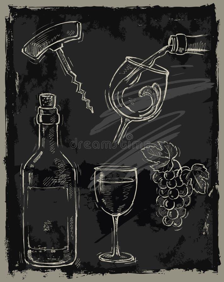 Vinho do giz ilustração stock