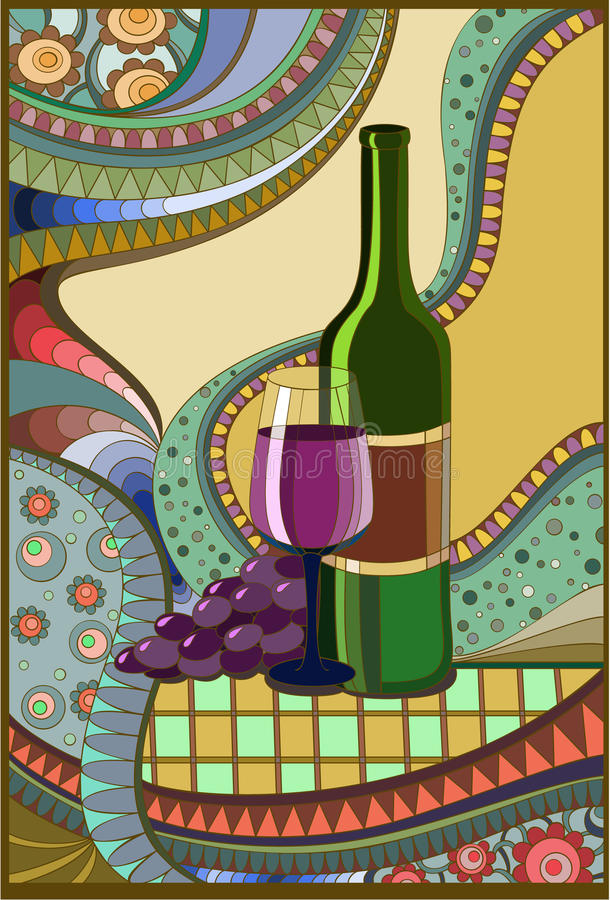 Vinho do indicador de vidro colorido ilustração do vetor