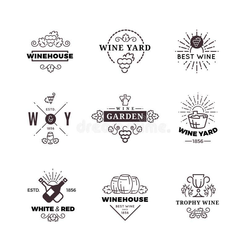 Vinho do moderno que faz a uva vector etiquetas, logotipos, emblemas ajustados ilustração royalty free