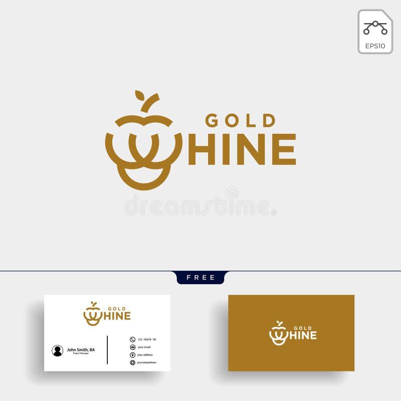 vinho do ouro ou tipo ilustração da uva do ouro do vetor do molde do logotipo ilustração royalty free