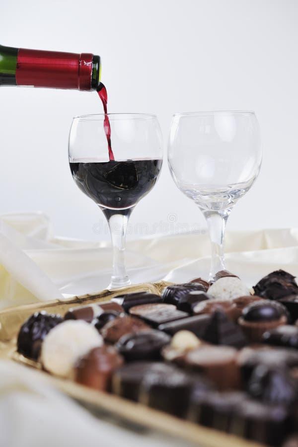 Vinho e chocolate foto de stock royalty free