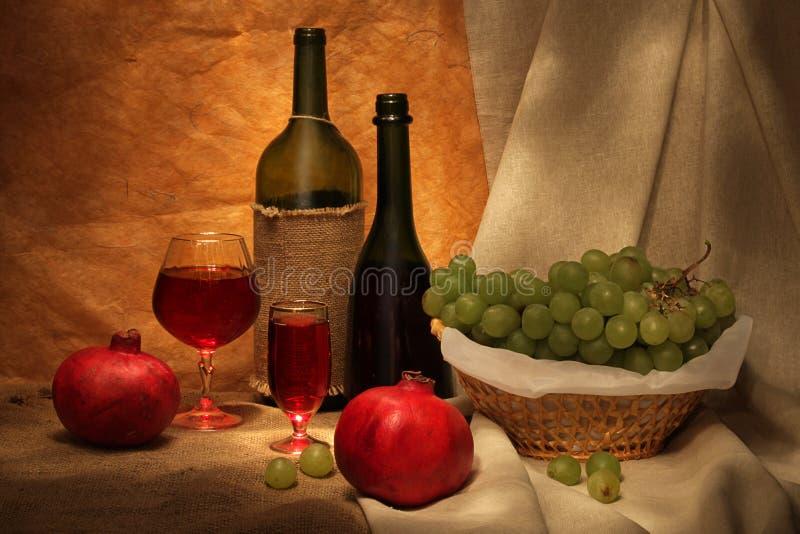 Vinho e frutas foto de stock