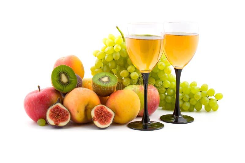 Vinho e frutas imagens de stock