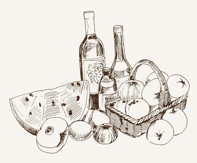 Vinho e fruto ilustração royalty free