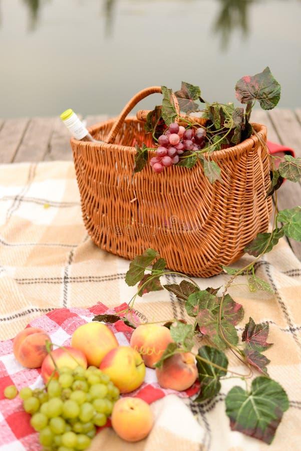 Vinho e frutos da cesta do piquenique com opinião do lago fotos de stock