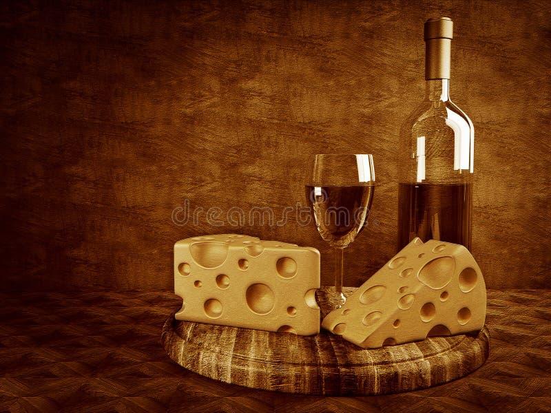 Vinho e queijo ilustração stock
