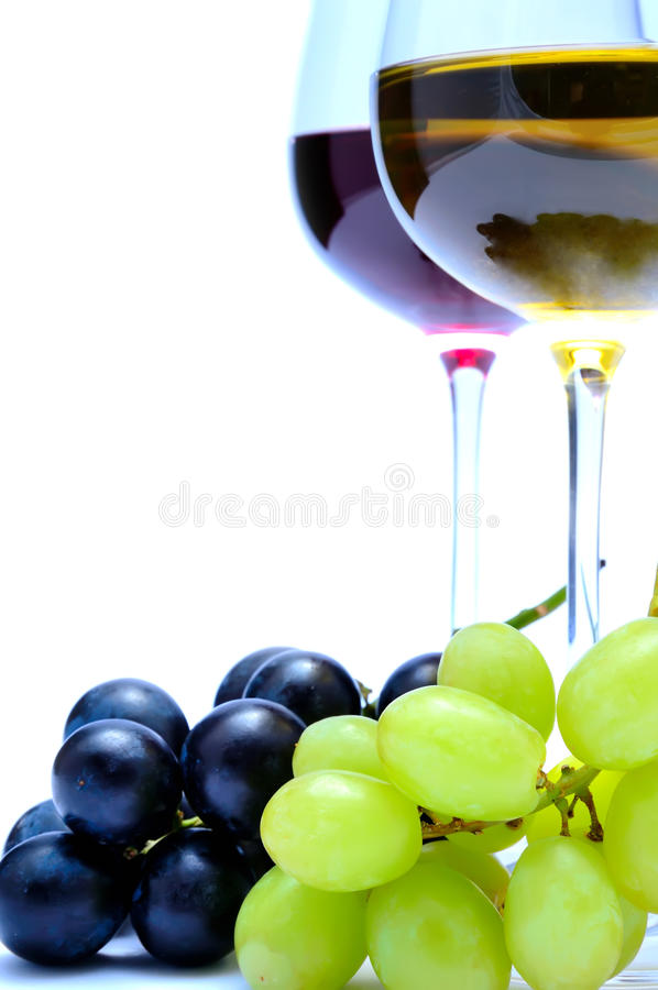 Vinho e uvas foto de stock