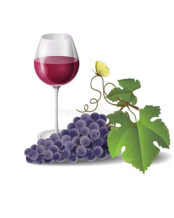 Vinho e uvas ilustração stock