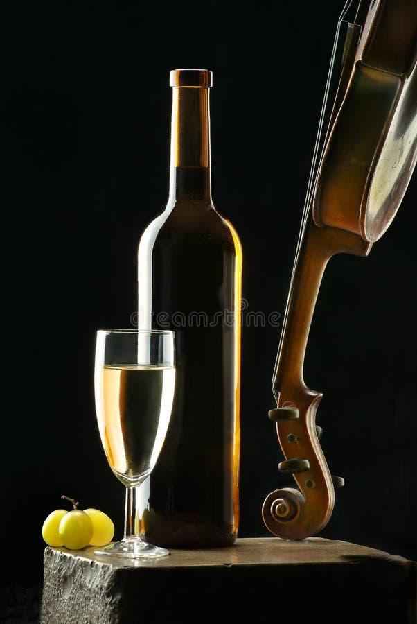 Vinho e violino imagem de stock royalty free