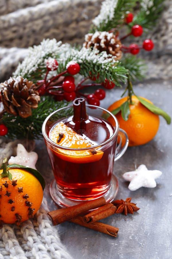 Vinho ferventado com especiarias do inverno bebida tradicional Bebida do Natal fotos de stock royalty free
