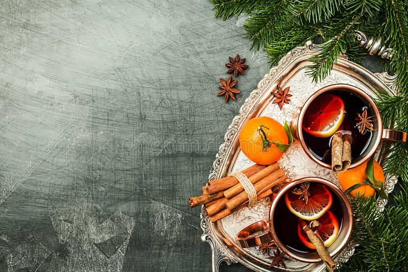 Vinho mulled Natal fotos de stock