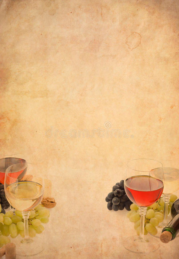 Vinho na fruta do vidro e da uva imagens de stock