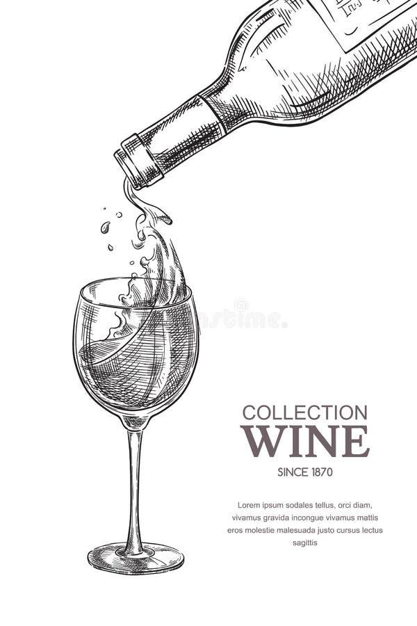 Vinho que derrama da garrafa no vidro, ilustração do vetor do esboço Elementos tirados mão do projeto da etiqueta ilustração do vetor