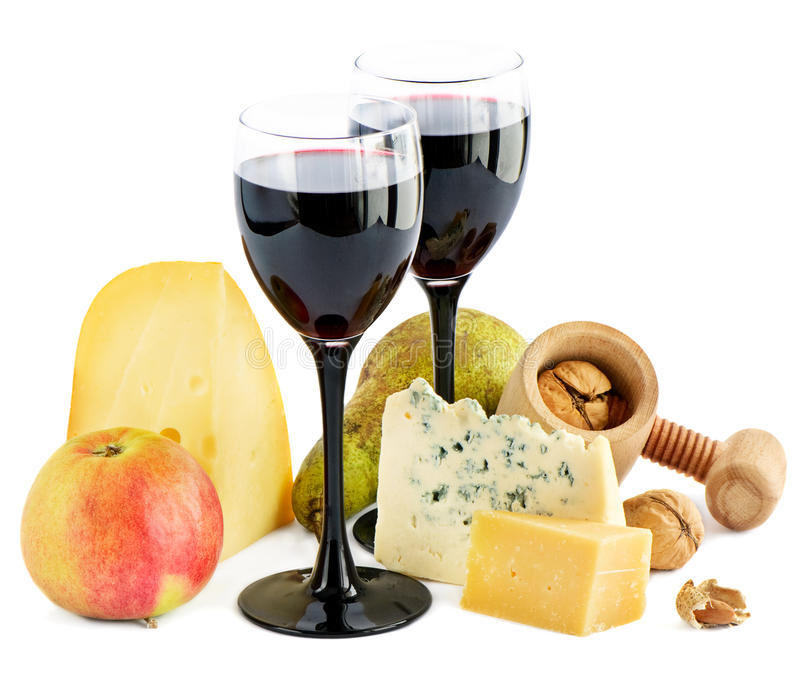 Vinho, queijo e maçã fotografia de stock royalty free