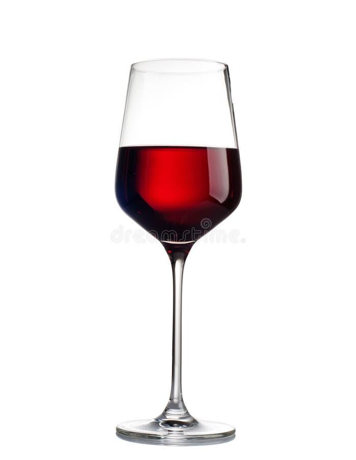 Vinho tinto em um vidro isolado no fundo branco foto de stock royalty free