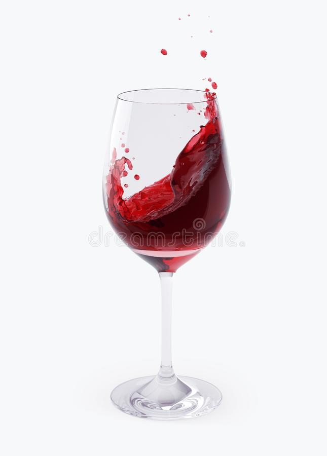 Vinho tinto que espirra nos vidros isolados em branco com o trajeto de grampeamento fotos de stock royalty free