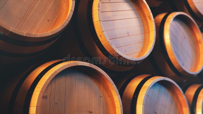Vinho, uísque, rum, cerveja, backgorund dos tambores Bebida alcoólica em tambores de madeira tais como o vinho, conhaque, rum, ag imagens de stock