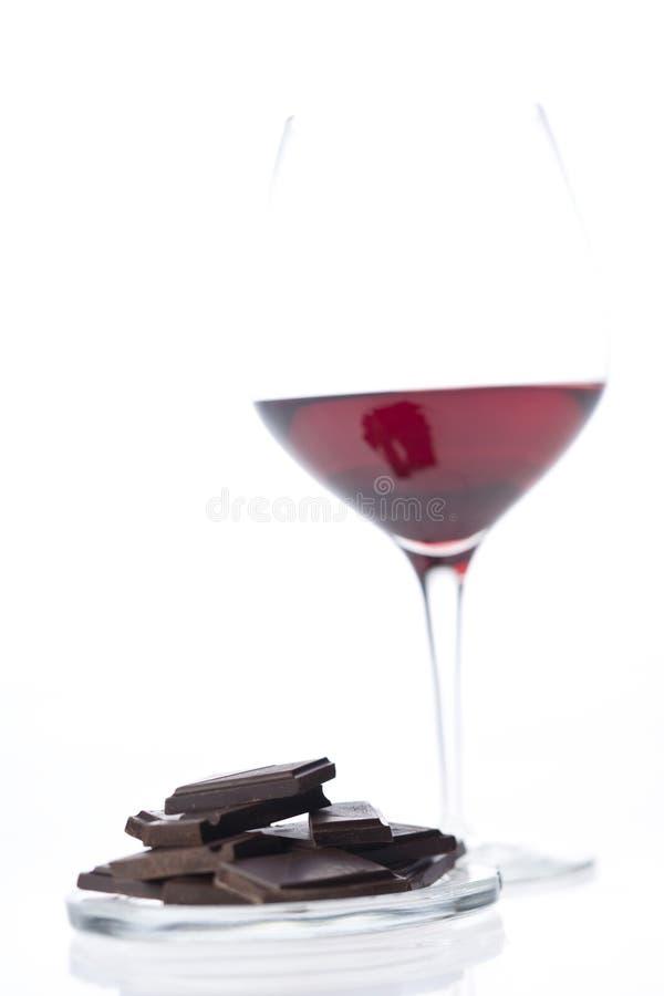 Vinho vermelho com chocolate foto de stock
