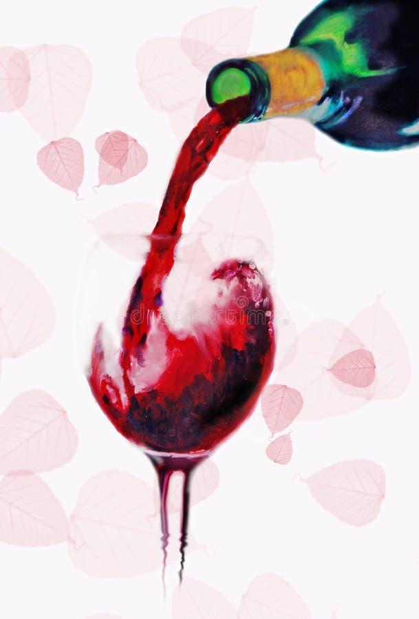 Vinho vermelho de derramamento ilustração do vetor