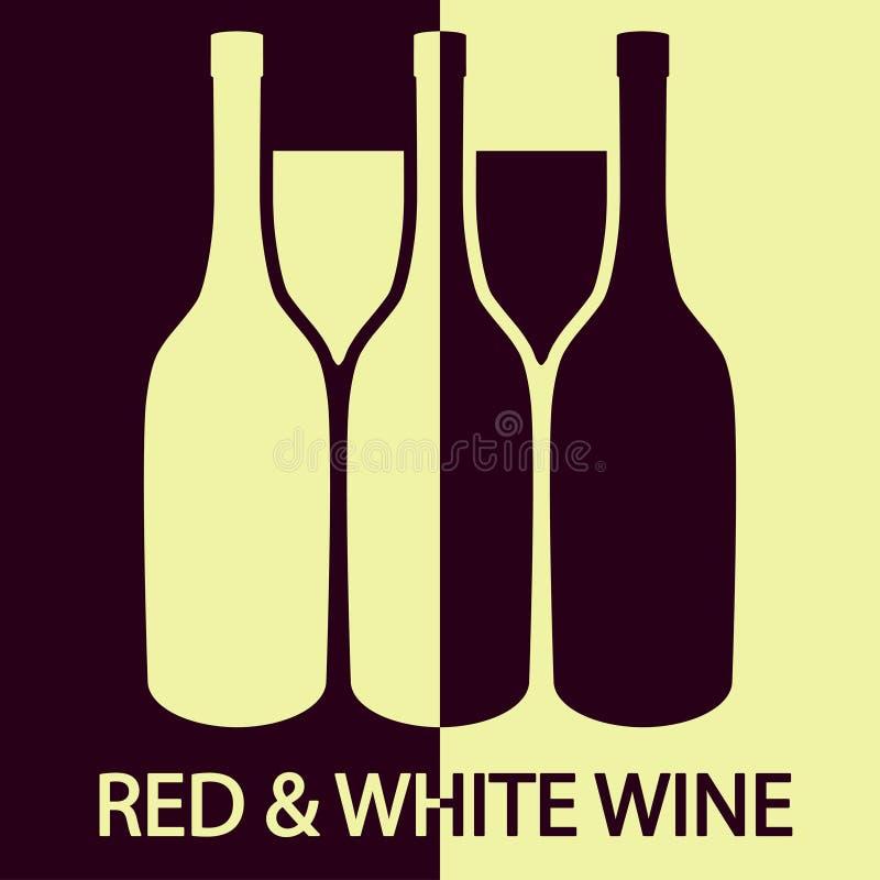 Vinho vermelho e branco ilustração royalty free