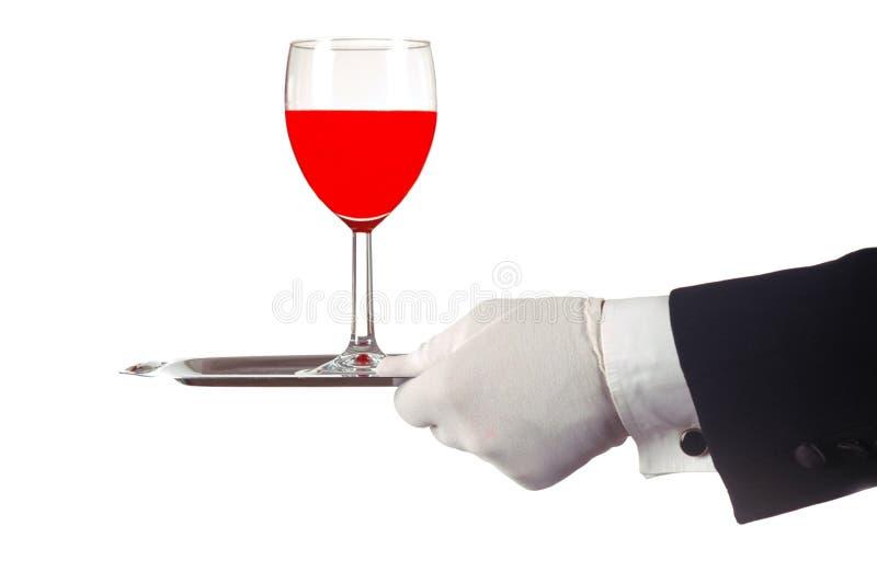 Vinho vermelho na bandeja fotografia de stock