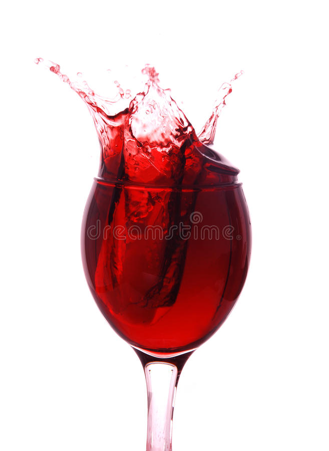 Vinho vermelho que espirra para fora fotos de stock royalty free