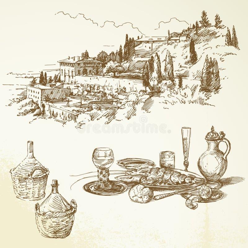 Vinho, vinhedo, Toscânia ilustração stock