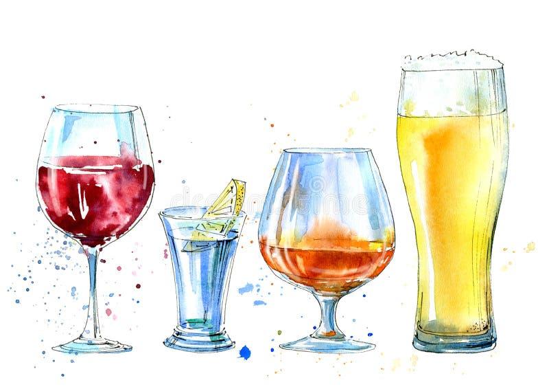 Vinho, vodca com limão, cerveja e conhaque ilustração stock