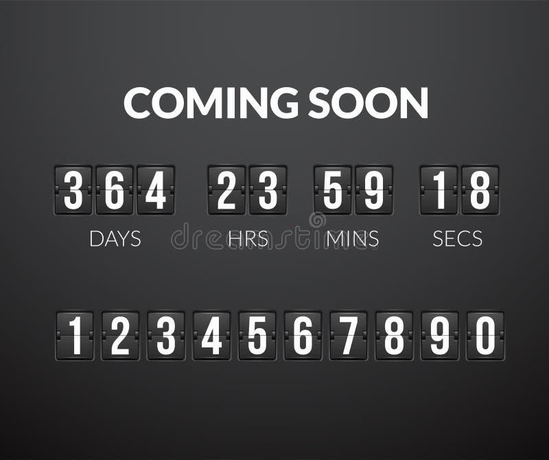 Viniendo pronto, el panel del contador de tiempo de la cuenta descendiente del tirón ilustración del vector