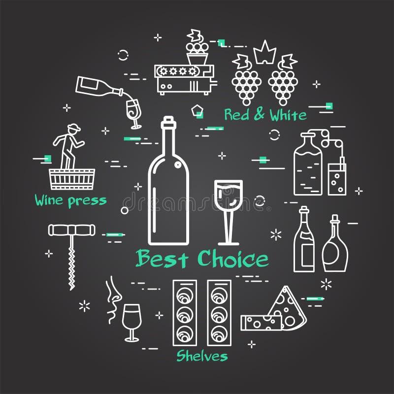 Vinificazione nera dell'insegna - bottiglia e vetro di vino illustrazione di stock