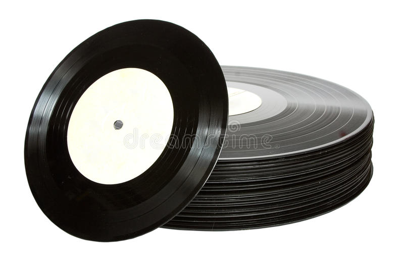 Vinil record. Pack of black vinil record isolated on white stock images